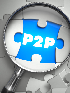 P2P - Peer to Peer - Word on the Place of Missing Puzzle Piece through Magnifier. Selective Focus.